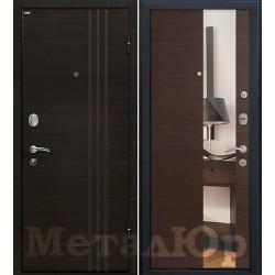 Дверь МеталЮр М15, венге кроскут, зеркало