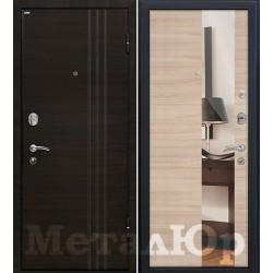 Дверь МеталЮр М15, капучино кроскут, зеркало