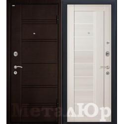 Дверь МеталЮр М17, эшвайт мелинга, матовое стекло